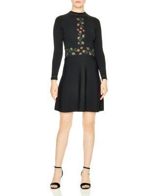 Sandro Giorgia Knit Fit & Flare Dress In Black