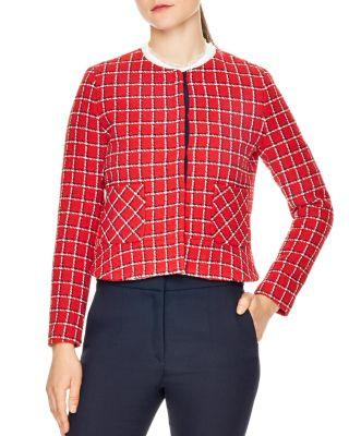 Sandro Stessy Printed Crop Jacket In Red
