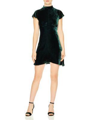Sandro Golden Velvet Mini Dress In Forest Green