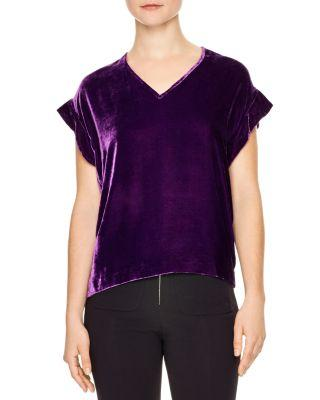 Sandro Ruffle Sleeve Velvet Top In Purple