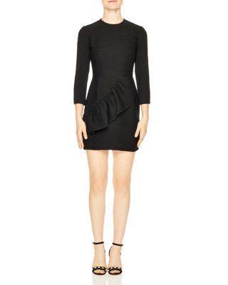 Sandro Isabelle Ruffle Trim Dress In Black