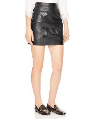 Sandro Apollo Ruffled Leather Mini Skirt In Black