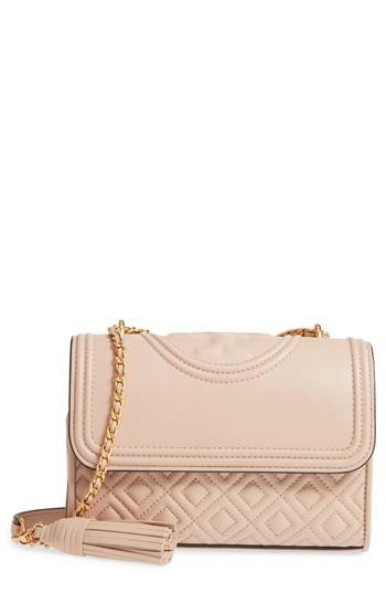 b65f6ea18462 Tory Burch Small Fleming Leather Convertible Shoulder Bag - Ivory In New  Mink