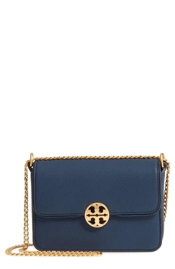 Tory Burch Mini Chelsea Leather Convertible Crossbody Bag - Blue In Royal Navy