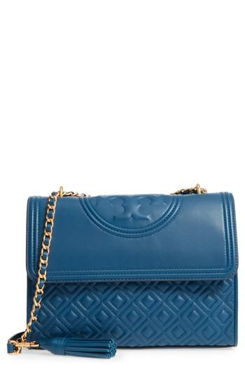 Tory Burch Fleming Quilted Lambskin Leather Convertible Shoulder Bag - Blue In Symphony Blue