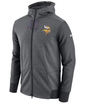 Nike Men's Minnesota Vikings Travel Full-Zip Hoodie In Anthracite