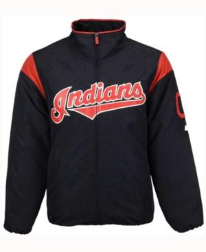 Majestic Cleveland Indians Men's On-Field Thermal Jacket In Navy/Red