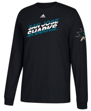 Adidas Originals Adidas Men's San Jose Sharks Line Shift Long Sleeve T-Shirt In Black