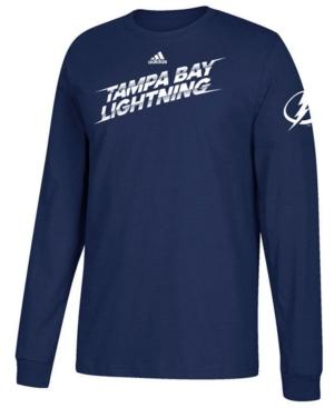 Adidas Originals Adidas Men's Tampa Bay Lightning Line Shift Long Sleeve T-Shirt In Blue