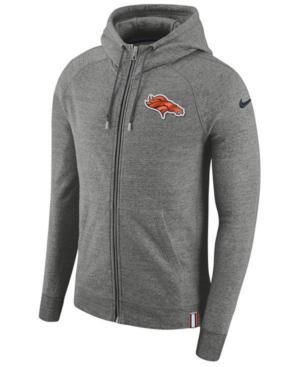 Nike Men's Denver Broncos Full-Zip Hoodie In Gray