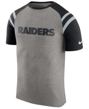 Nike Men's Oakland Raiders Enzyme Shoulder Stripe T-Shirt In Heather Gray