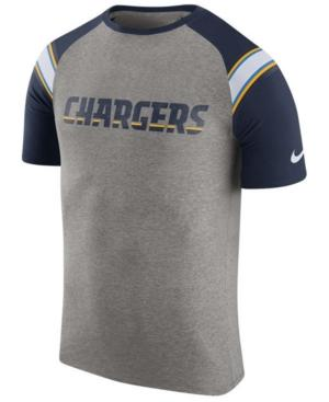 Nike Men's Los Angeles Chargers Enzyme Shoulder Stripe T-Shirt In Heather Gray