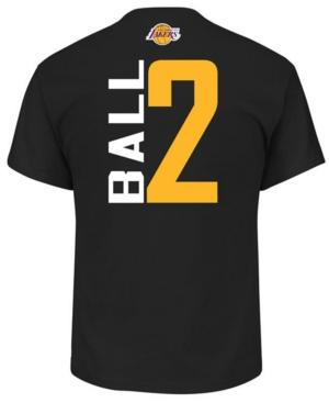 Majestic Men's Lonzo Ball Los Angeles Lakers Vertical Name And Number T-Shirt In Black