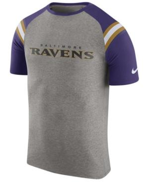 Nike Men's Baltimore Ravens Enzyme Shoulder Stripe T-Shirt In Heather Gray