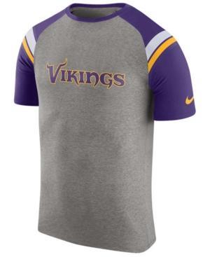 Nike Men's Minnesota Vikings Enzyme Shoulder Stripe T-Shirt In Heather Gray