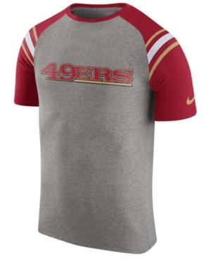 Nike Men's San Francisco 49Ers Enzyme Shoulder Stripe T-Shirt In Heather Gray