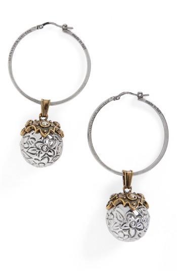 """Alexander Mcqueen Crystal Sphere Hoop Earrings/1"""" In Silver"""