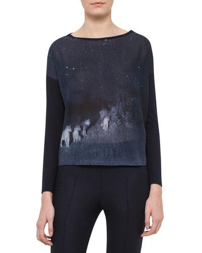 Akris Lions In The Night Long-Sleeve Pullover, Starling