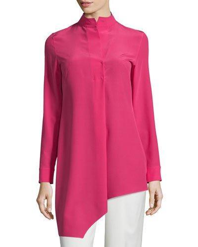 Akris Long-Sleeve Asymmetric Tunic, Anemone
