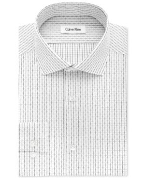 Calvin Klein Steel Men's Slim-Fit Non-Iron Black Night Grid Dress Shirt
