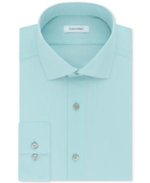 Calvin Klein Steel Men's Big & Tall Classic-Fit Non-Iron Herringbone Dress Shirt In Mint Julip