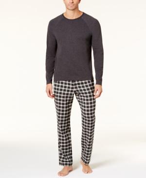 Ugg Men's Steiner Cotton Plaid Pajama Set In Black