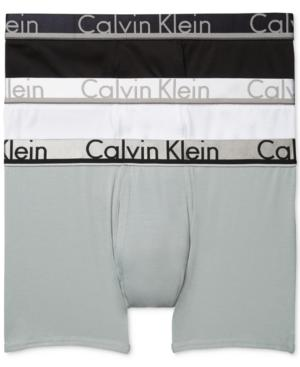 Calvin Klein Men's Comfort Microfiber Boxer Brief 3 Pack In Black/Stone Grey/White