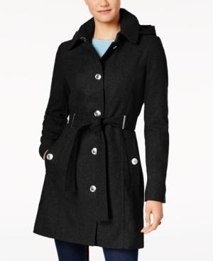 Calvin Klein Petite Belted Hooded Walker Coat In Black