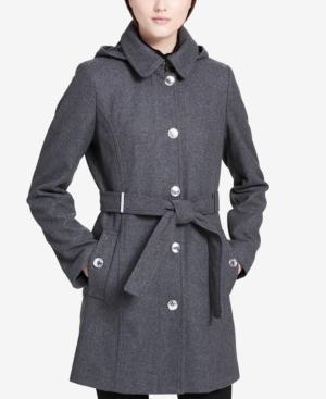 Calvin Klein Petite Belted Hooded Walker Coat In Grey