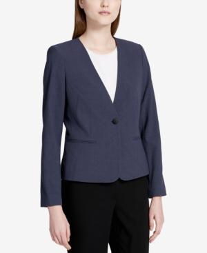 Calvin Klein Petite One-Button Blazer In Charcoal Multi
