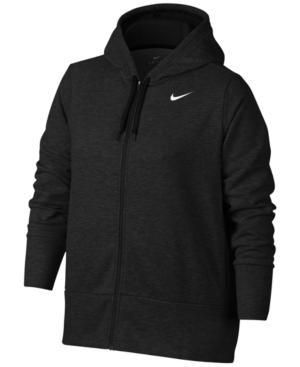 Nike Plus Size Dry Training Hoodie In Black/Black/White