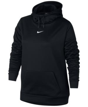 Nike Plus Size Therma Training Hoodie In Black/White