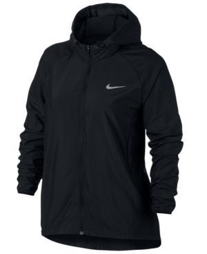 Nike Plus Size Essential Water-Repellent Running Jacket In Black