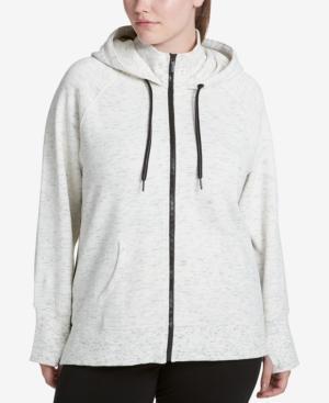 Calvin Klein Performance Plus Size High-Collar Logo Hoodie In Heather Fog