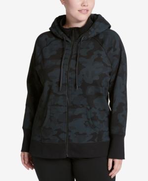 Calvin Klein Performance Plus Size High-Collar Logo Hoodie In Jigsaw Black