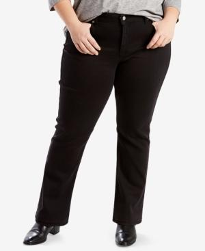 Levi's Trendy Plus Size 414 Classic Straight-Leg Jeans In Soft Black