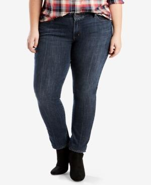 Levi's Plus Size 711 Skinny Jeans, Short And Reg Inseam In Pintucked Blues