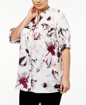 Calvin Klein Plus Size Printed Shirt In Blush Combo