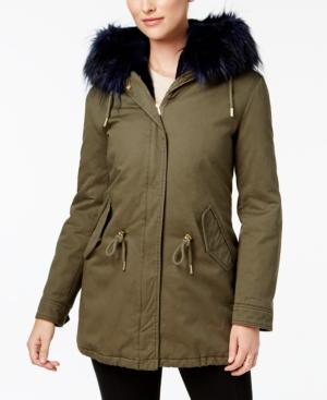 Laundry By Shelli Segal Anorak Coat In Olive/Navy