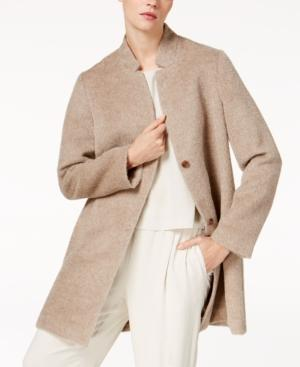 Eileen Fisher Alpaca Wool Blend Notch-Collar Car Coat In Almond