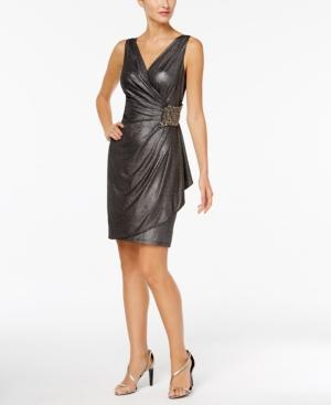 Calvin Klein Embellished Metallic Dress In Black Silver