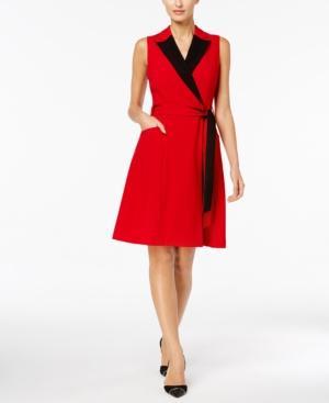Calvin Klein Colorblocked Wrap Dress, Regular & Petite Sizes In Red/Black
