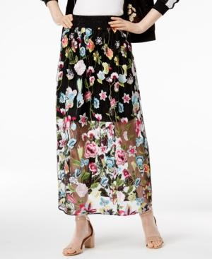 Cynthia Rowley Cr By  Embroidered Maxi Skirt, Created For Macy's In Black Embroidered Floral