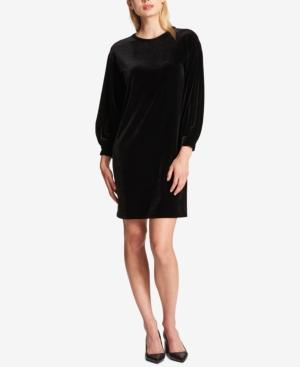 Dkny Velvet Bubble-Sleeve Dress In Black