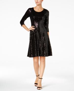 Calvin Klein Sequined Fit & Flare Dress, Regular & Petite Sizes, Created For Macy's In Black