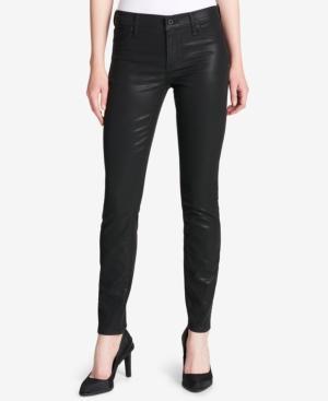 Dkny Coated Skinny Jeans In Black