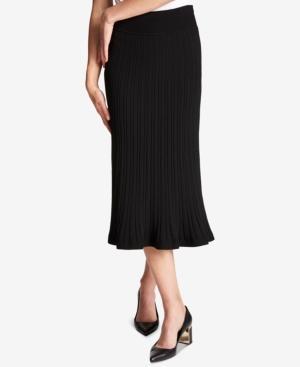 Dkny Ribbed Midi Skirt In Black