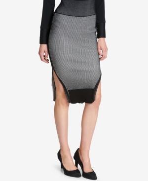 Dkny Striped Midi Skirt In Black/Ivory