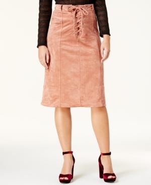 Endless Rose Faux-Suede Lace-Up Midi Skirt In Pink
