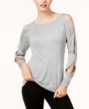 Vince Camuto Cold-Shoulder Sweater In Light Heather Grey